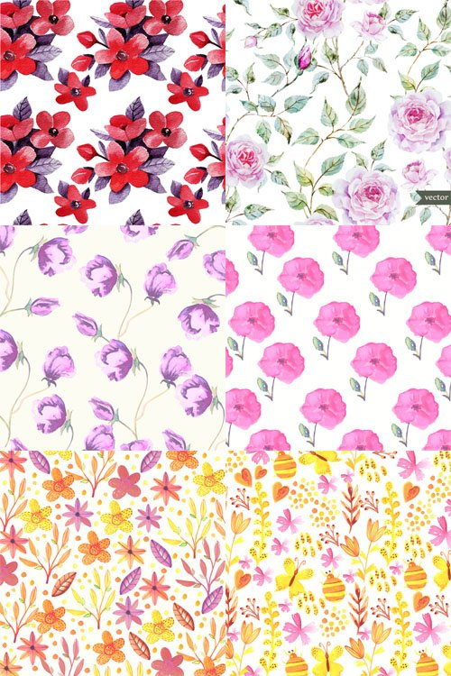 6 Vector Watercolor Floral Patterns Set 2