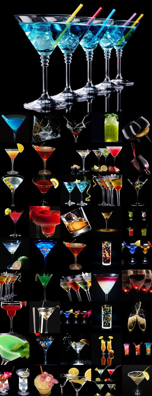 Various drinks on a black background Raster Graphics