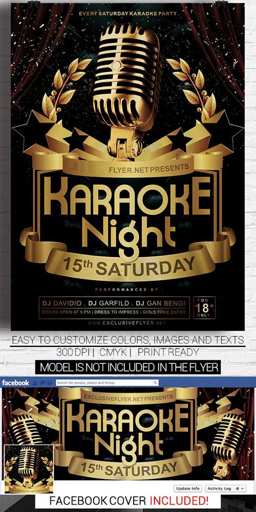 Flyer Template PSD   Karaoke Night Vol 2 + Facebook Cover