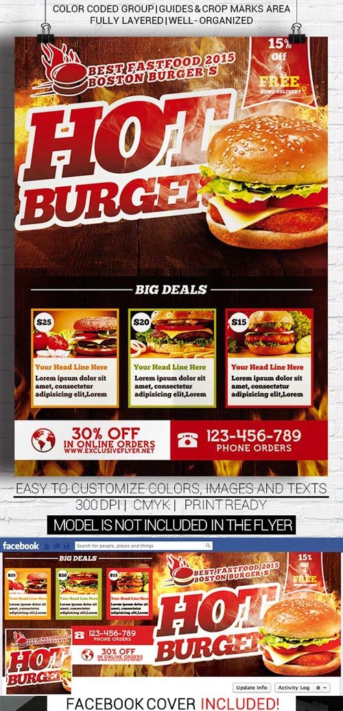 Flyer Template - Hot Burger + Facebook Cover