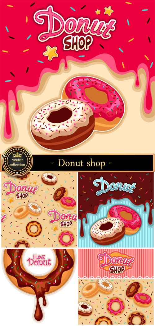 Donut shop, vector backgrounds