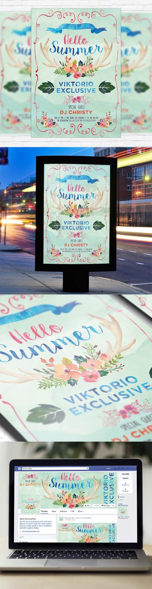 Flyer Template - Watercolor Summer + Facebook Cover