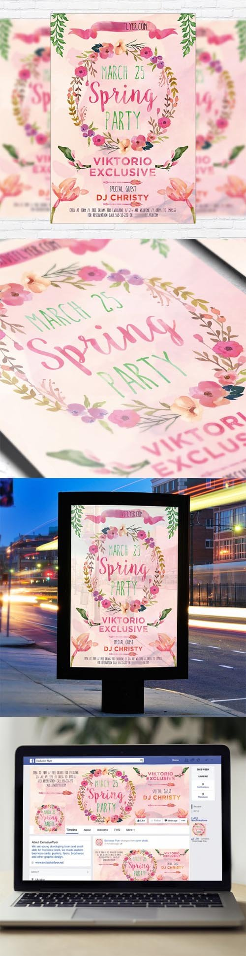 Flyer Template  - Watercolor Spring + Facebook Cover