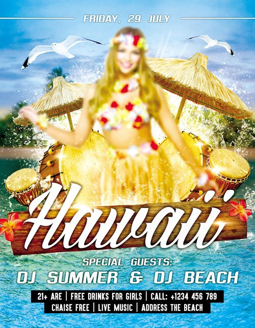 Flyer PSD Template - Hawaii Party + Facebook Cover