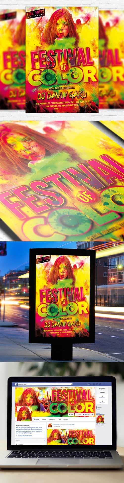 Flyer Template - Festival Of Color + Facebook Cover