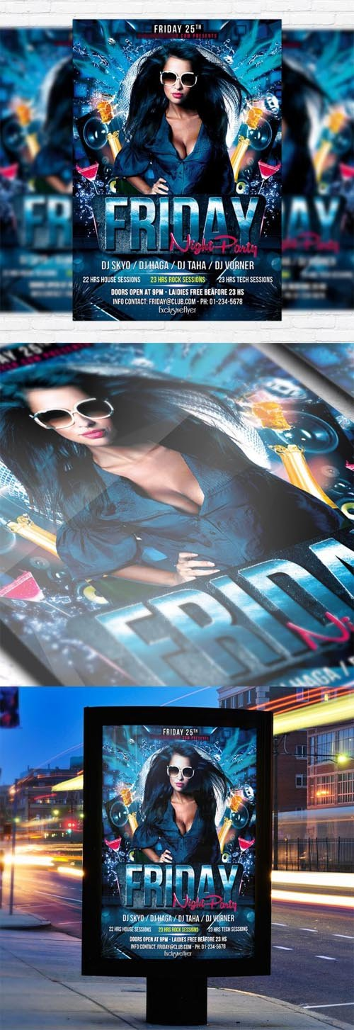 Flyer Template PSD - Friday Night Party