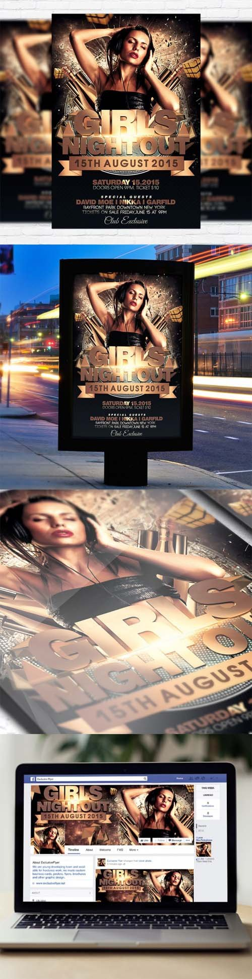 Flyer Template - Girls Night Out + Facebook Cover