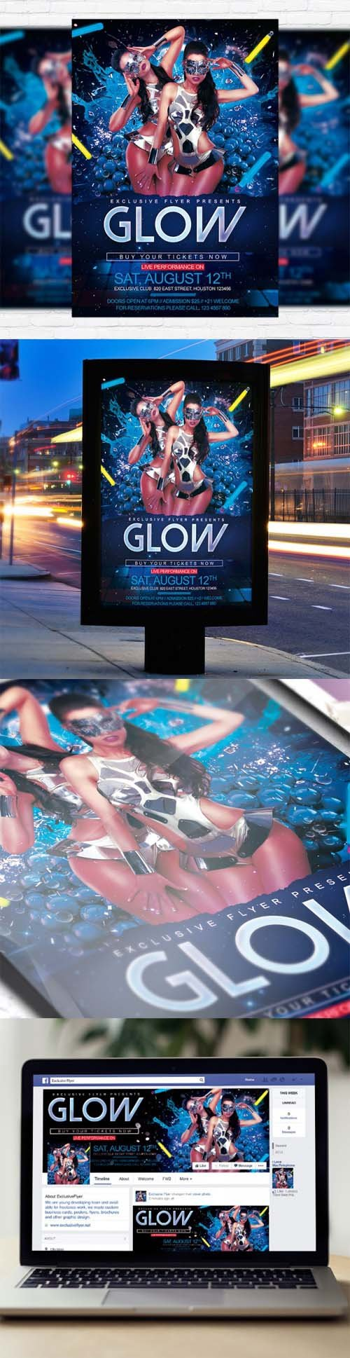 Flyer Template - Glow + Facebook Cover