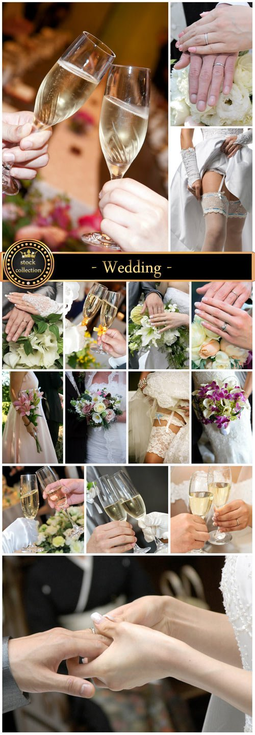 Wedding, flowers and glasses of champagne, bride and groom - stock photos