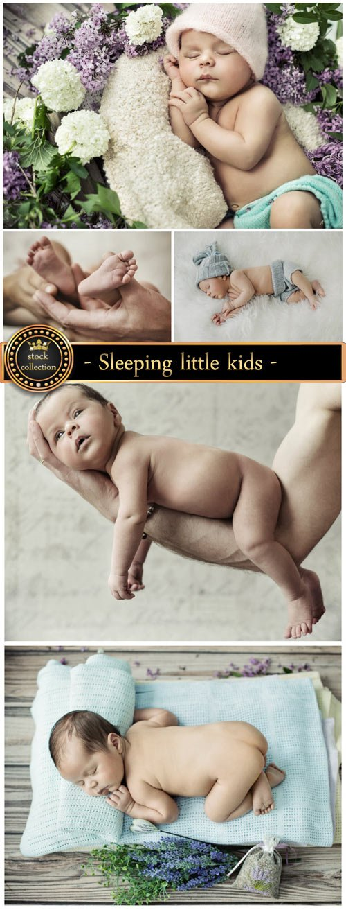 Sleeping little kids - stock photos