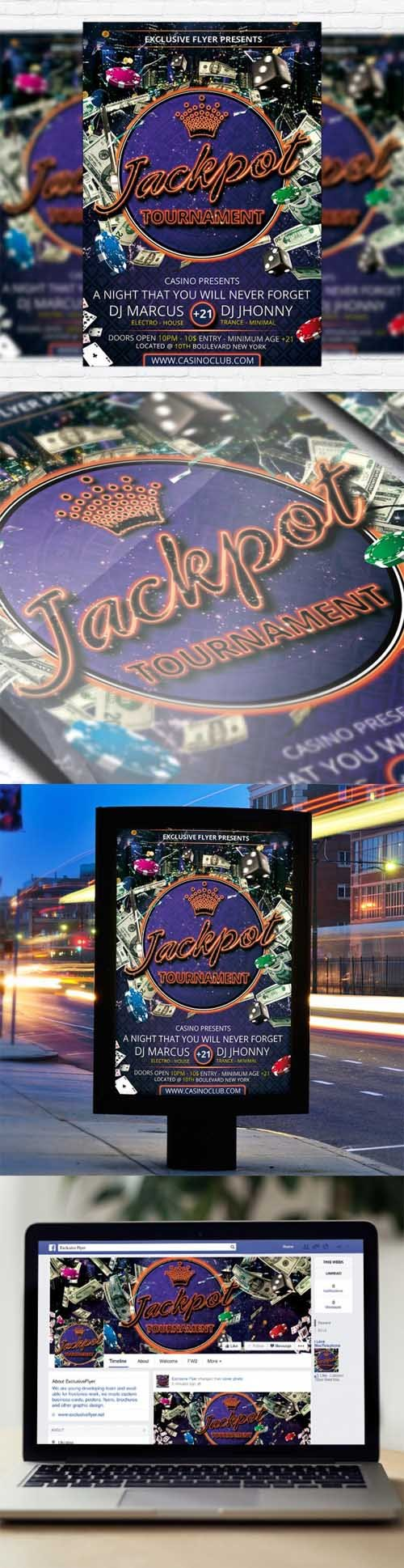 Flyer Template - Jackpot Tournament + Facebook Cover