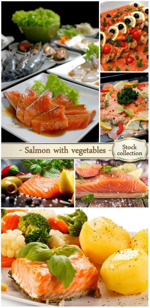 Salmon with vegetables and spices - Stock Photo