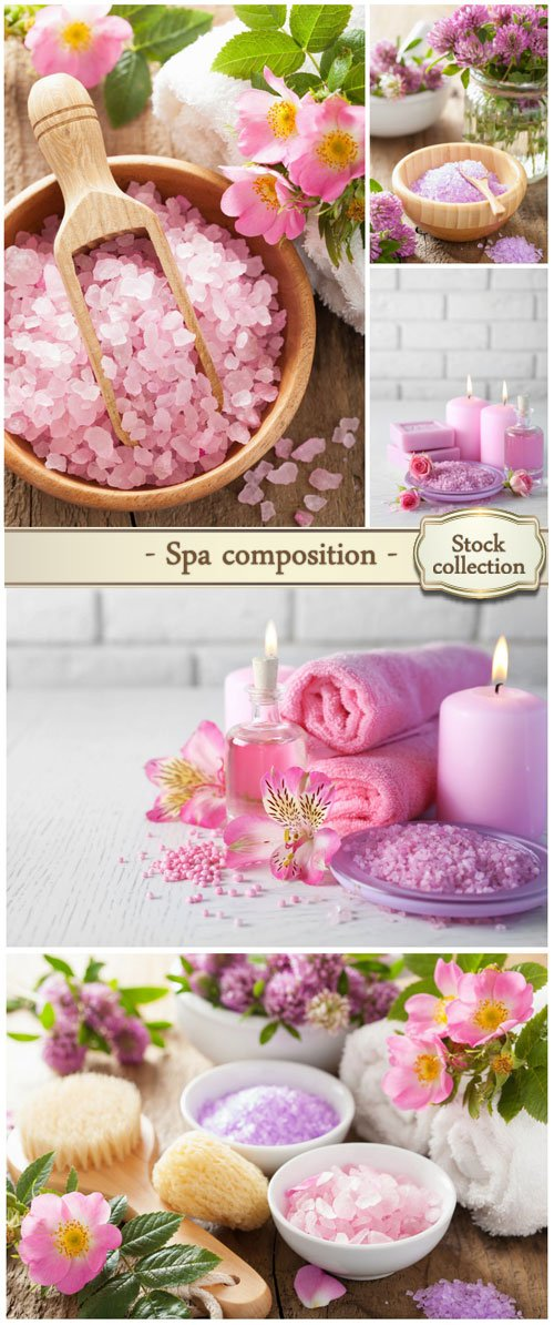 Spa composition with sea salt, candles and flowers - stock photos