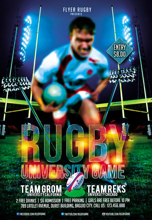 flyer template psd - rugby game  u00bb nitrogfx