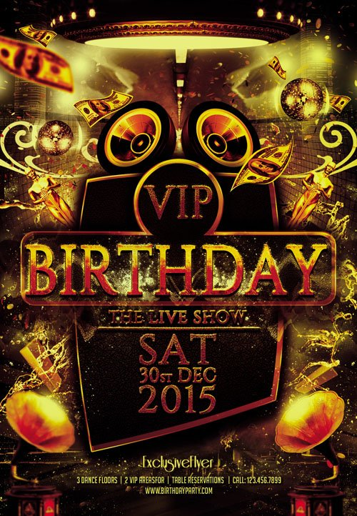 flyer template psd - vip birthday  u00bb nitrogfx