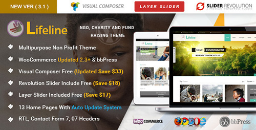 ThemeForest - Lifeline v3.1.2 - NGO Charity Fund Raising WordPress Theme