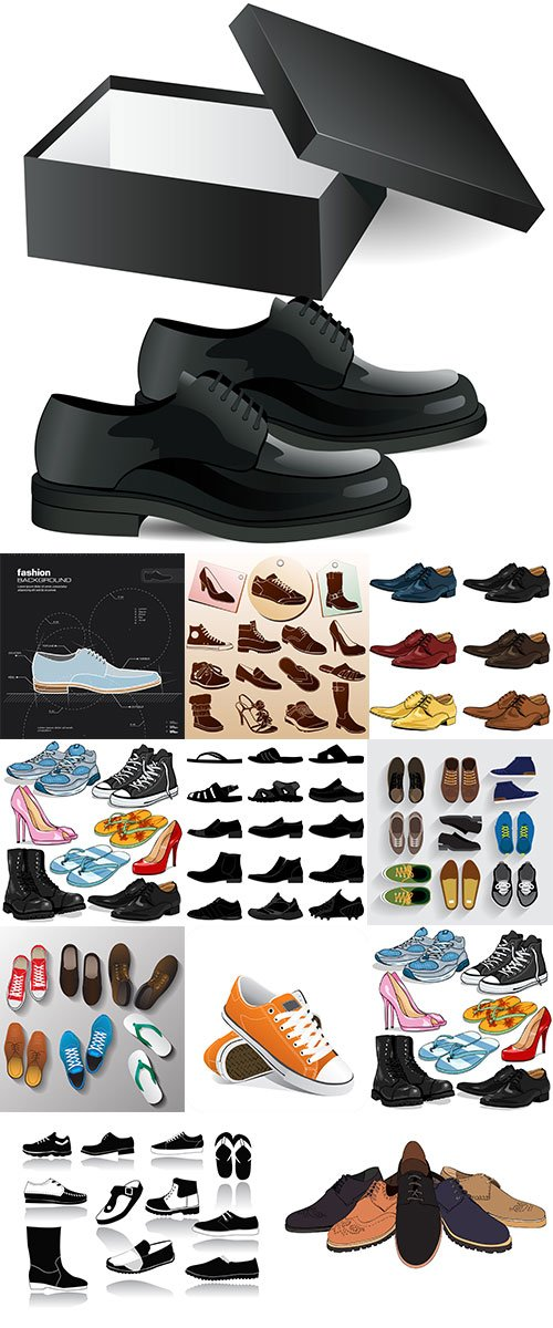 Stock Different Shoes Icons with Labels vectors