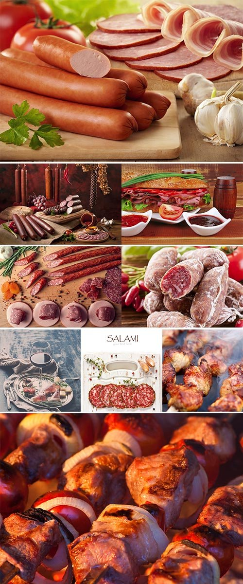 Stock Photos Smoked meat with tomatoes