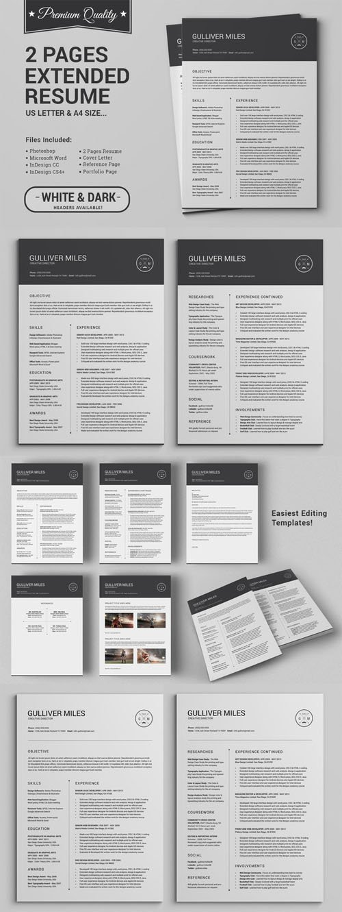 2 Pages Resume CV | Extended Pack - Creativemarket 237937