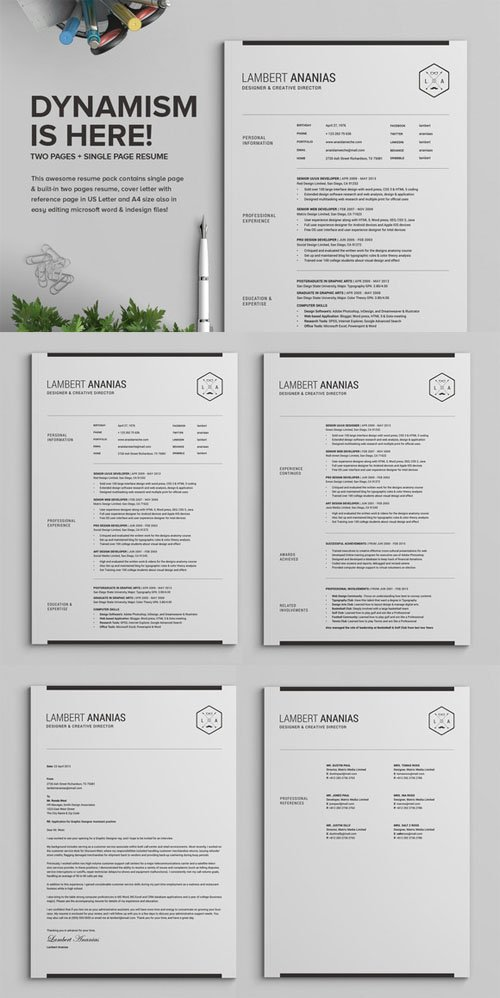 2 Pages Resume CV Pack - Lambert - Creativemarket 225873
