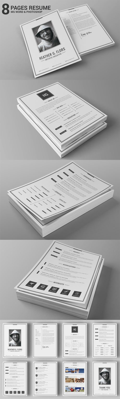 Creativemarket - 8 Pages Extended Resume CV MS Word 170291