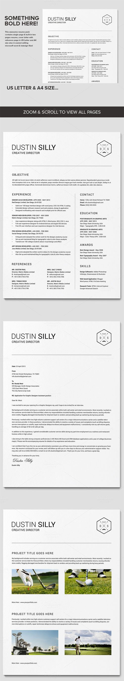 Clean Resume CV - Silly - Creativemarket 230432