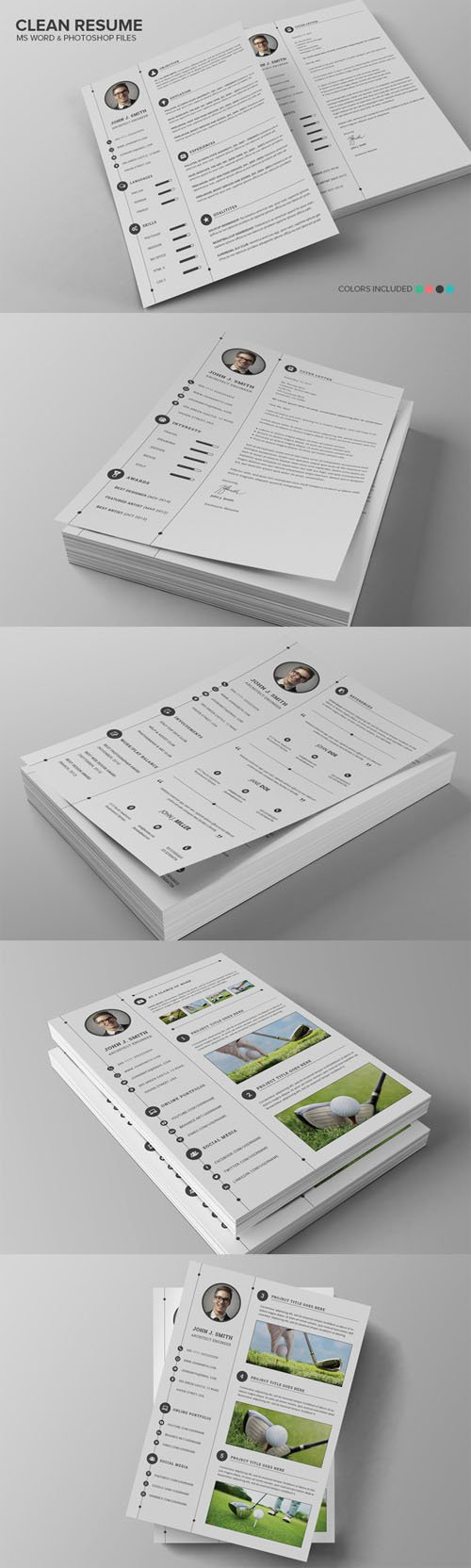 Creativemarket - Clean Resume CV Set 136801