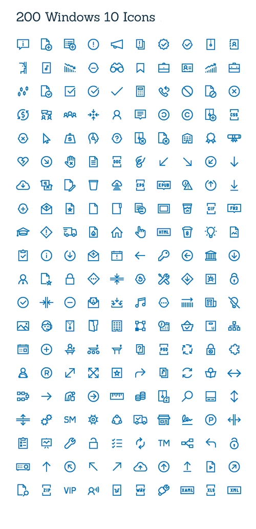 Ai, PNG, SVG Web Icons - 200 Windows Icons