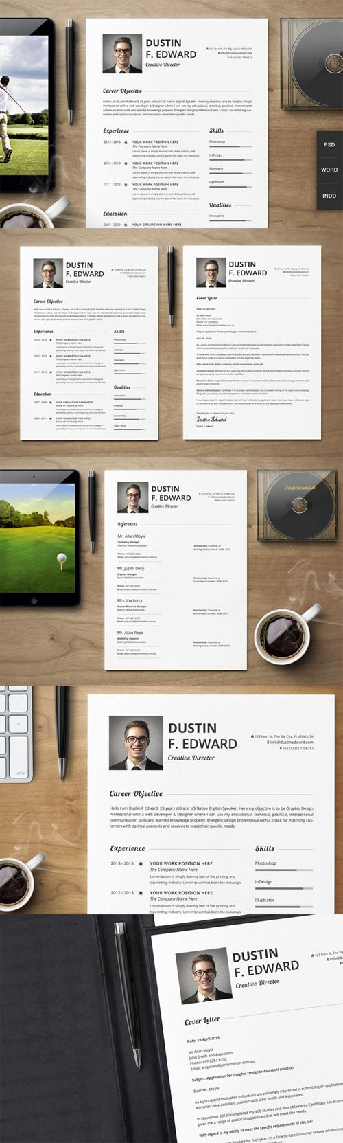 Creativemarket - Premium Resume CV Template Set 198765