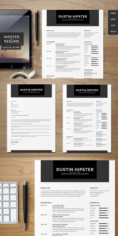 Resume/CV Set - The Hipster - Creativemarket 217093