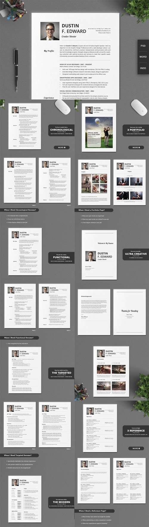 Creativemarket - 21 Timeless Resume CV Set No Icons 210098