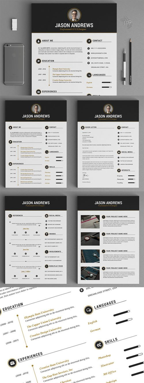 The Elegant Resume/CV Set Template - Creativemarket 139468