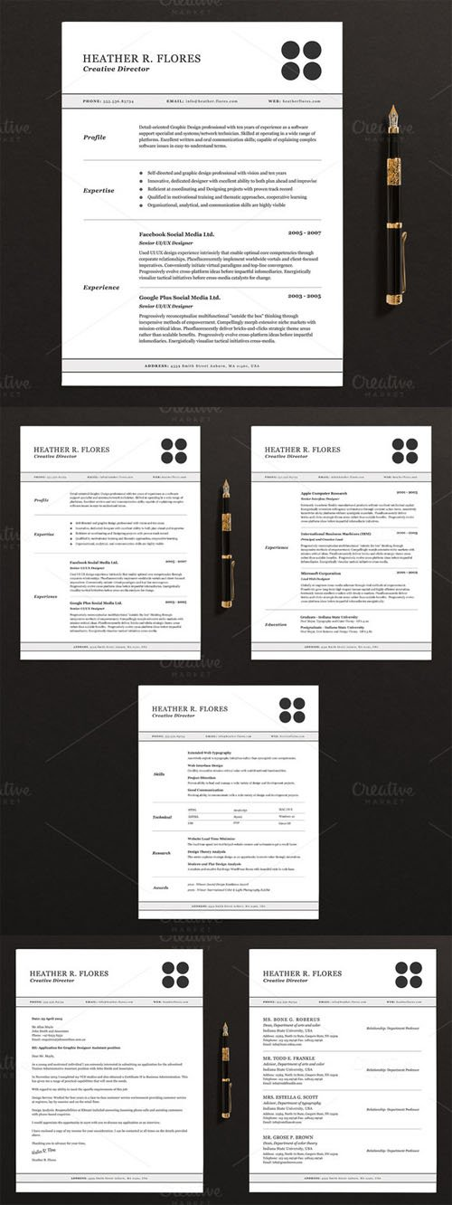 3 Pages Resume/CV Template Full Set - Creativemarket 130616