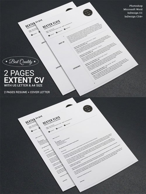 Creativemarket - 2 Pages Full Extent Resume CV 274926