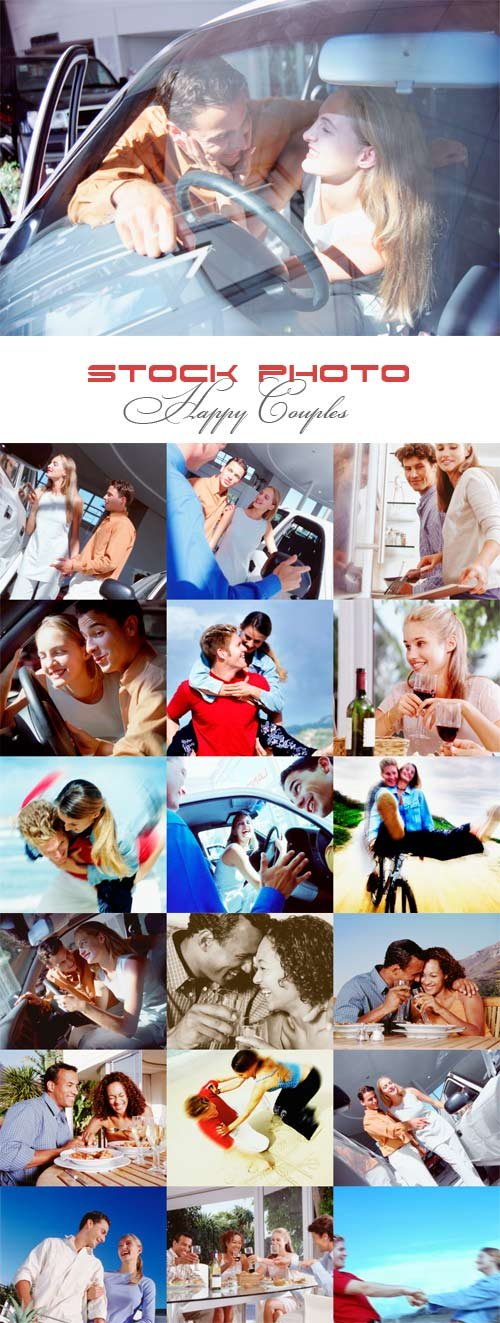 Happy couples raster graphics