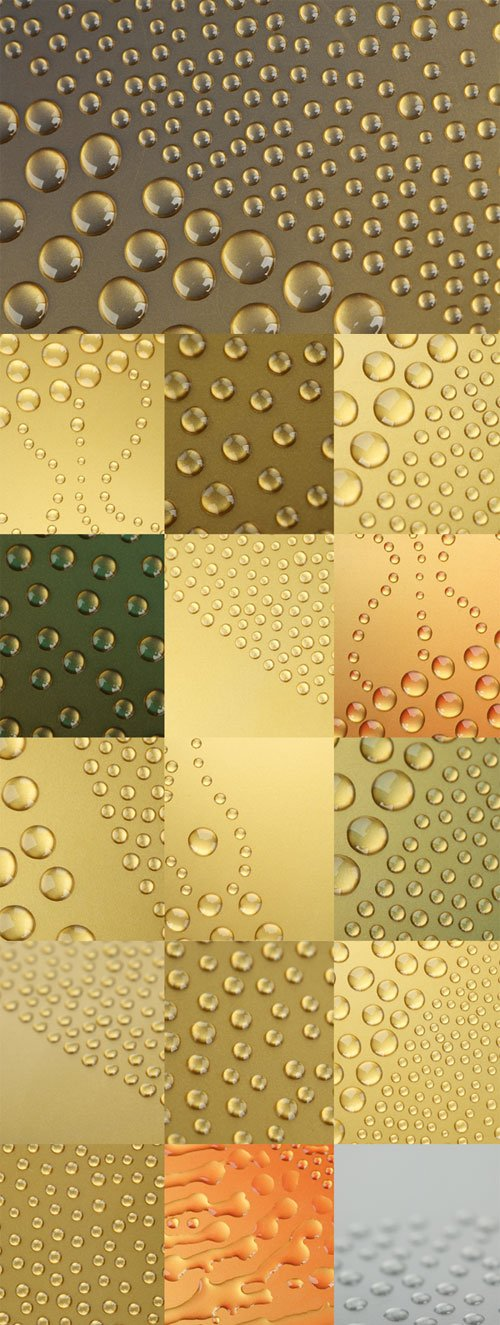Water drops backgrounds with a gleam