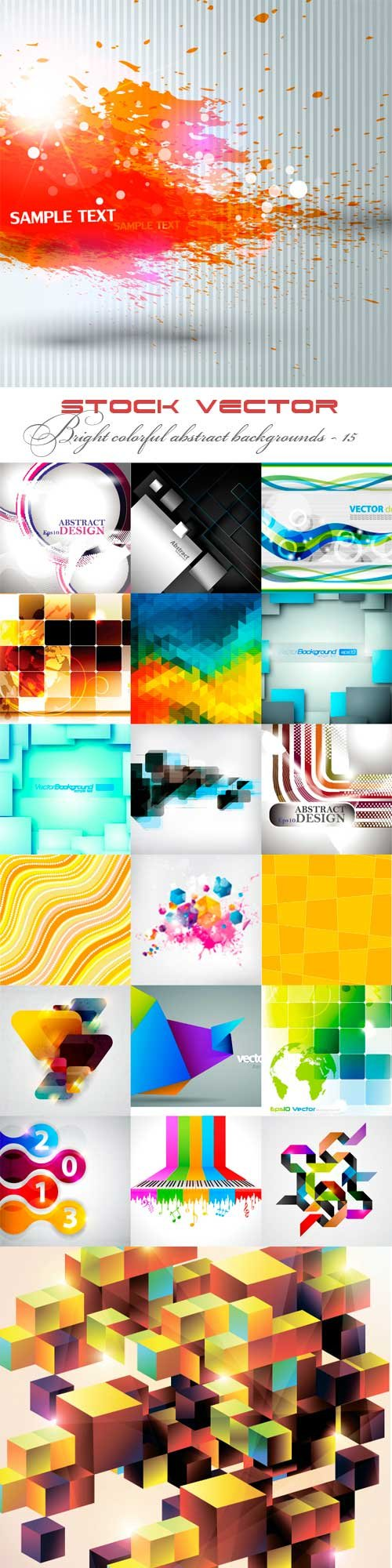 Bright colorful abstract backgrounds vector - 15