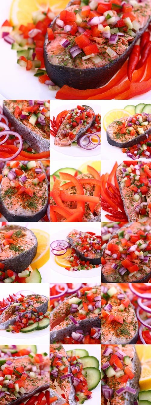 Fried fish with spices and vegetables Raster Graphics
