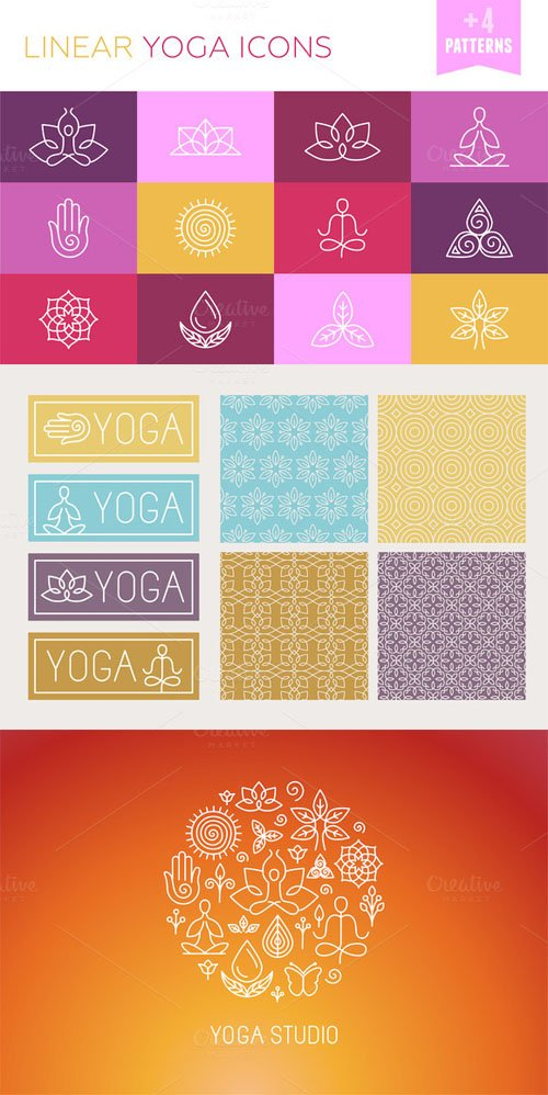 Creativemarket - Vector linear yoga icons 194835