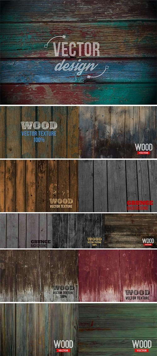 Vector wood texture, Background old panels vectors