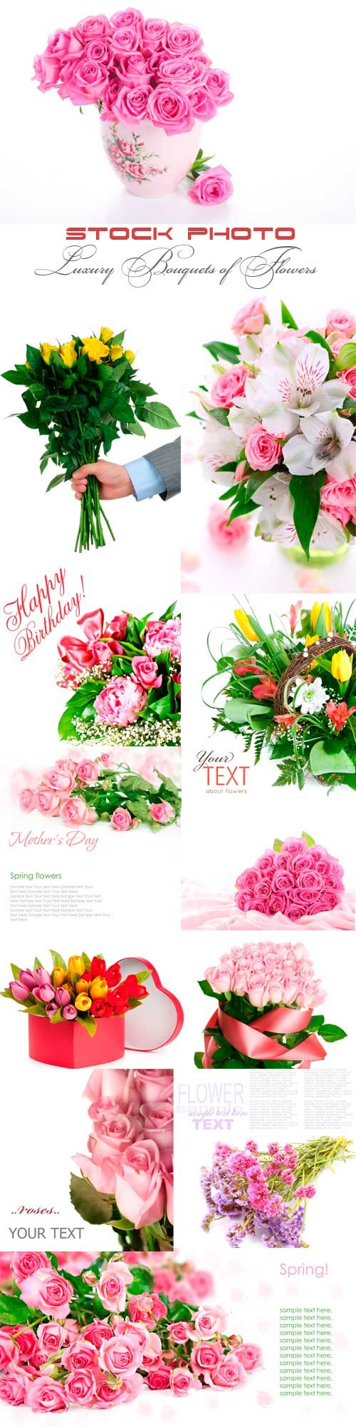 Luxury bouquets of flowers to different holidays