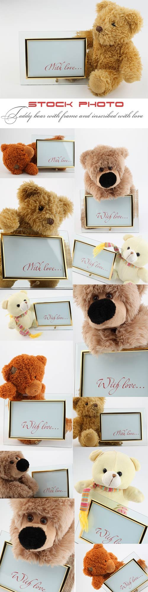 Teddy bear with frame and inscribed with love
