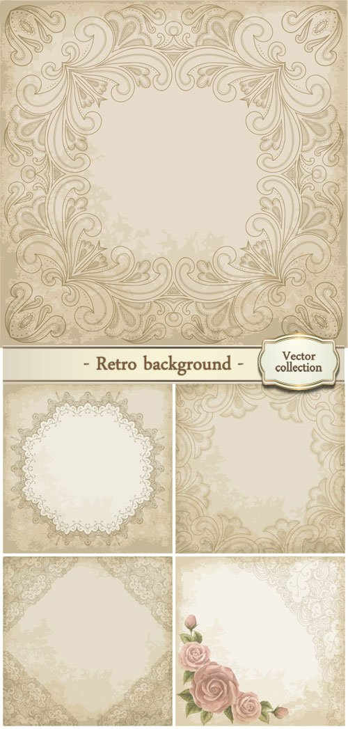 Retro background with beautiful patterns, vector