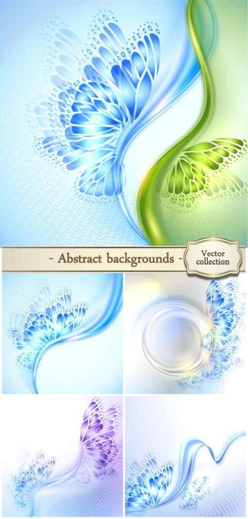Vector abstract backgrounds with lines and butterflies