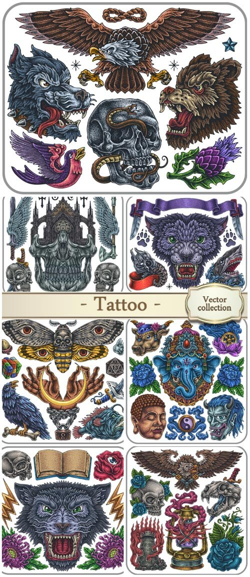 Hand-drawn set of old school sacred theme tattoos, vector