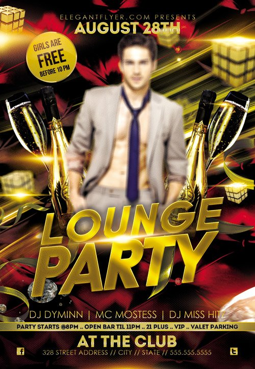 Flyer PSD Template - Lounge Party + Facebook Cover