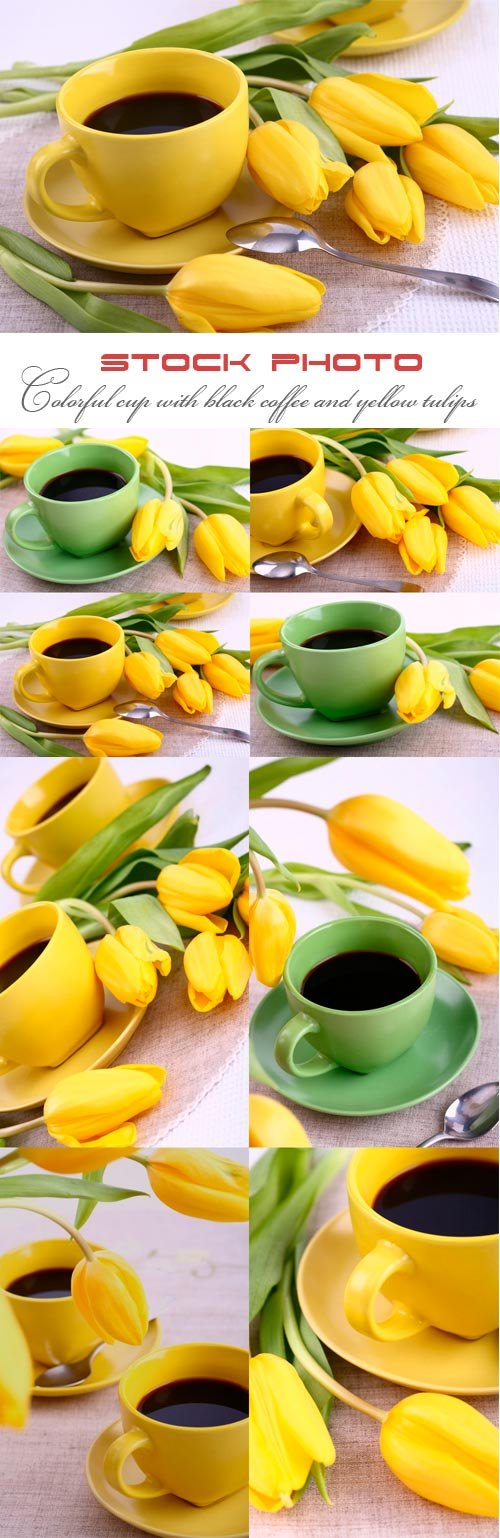 Colorful cup with black coffee and yellow tulips
