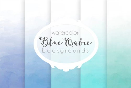 Creativemarket - Blue ombre watercolor backgrounds 91525