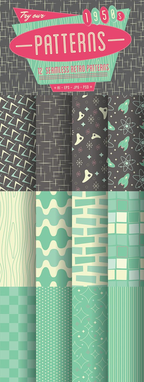 1950s Retro Seamless Patterns - CM 9054