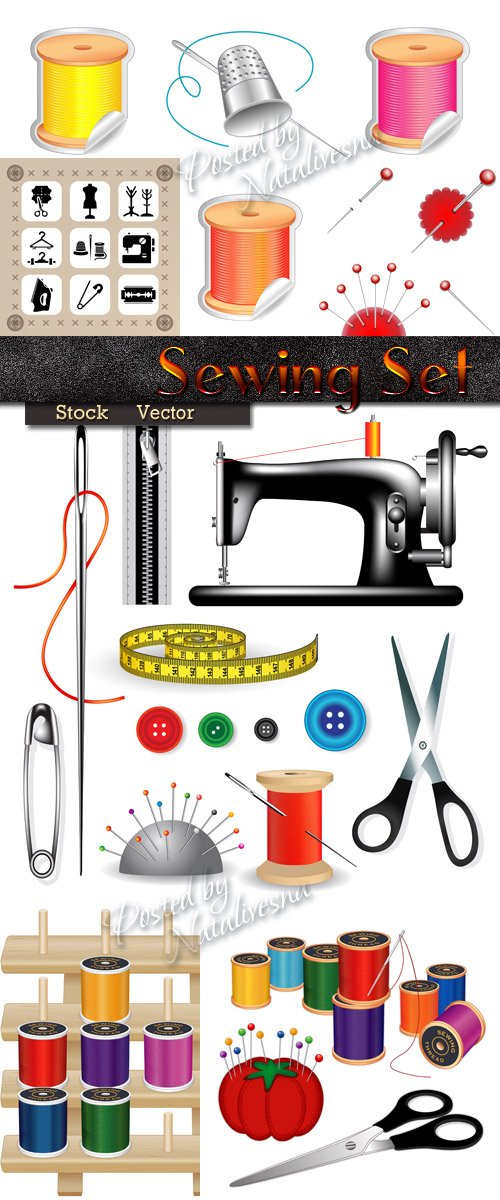 Sewing set in Vector